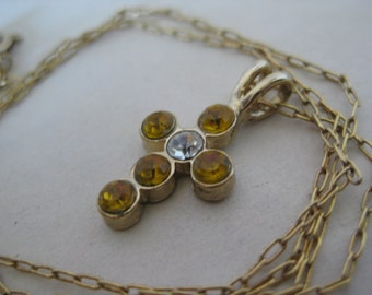 Cross Gold Necklace Rhinestone Pendant Vintage Clear Christian