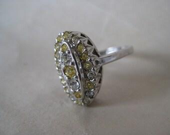 Silver Rhinestone Ring Vintage Yellow Clear 6