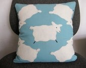 Sheep in the Meadow, applique cotton pillow
