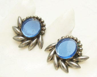 Vintage Sterling Earrings Mexican Silver Blue Jewelry E4139