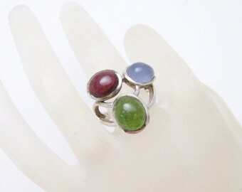 Unique Sterling Ring Multi Color Vintage Jewelry Size 7 R6595
