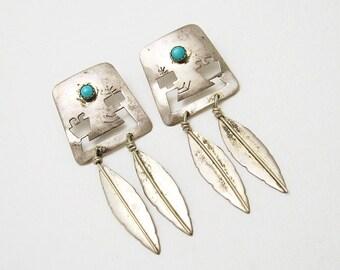 Long Sterling Earrings Southwestern Turquoise Feather Jewelry Artisan E6629