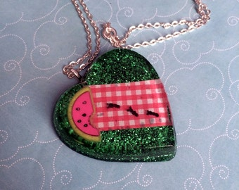 Picnic Invaders Huge Resin Heart Necklace