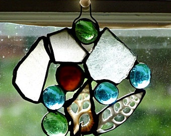 Genuine, Beach Glass, Hanging, Stained Glass, Garden Art, Suncatcher with Glass Nuggets, Shells and Mirror