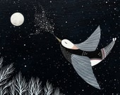 The Night Bird Sings His Lullaby - 8x10 Archival Print - Contemporary Watercolor Painting - Fairytale, Nursery Art - by Natasha Newton