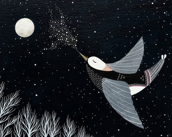 The Night Bird Sings His Lullaby - 8x10 Archival Print - Contemporary Watercolor Painting - Fairytale, Nursery Art - by Natasha Newton