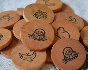 Wooden Coin Memory Matching Game - Aquatic Theme