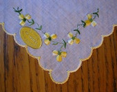 Vintage Handkerchief, Swiss Hanky, Yellow Embroidered Flowers, Yellow Hanky, Embroidered Hanky, New Vintage Hanky, Yellow Flowered Hanky