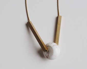 White Turquoise Brass Tube Necklace