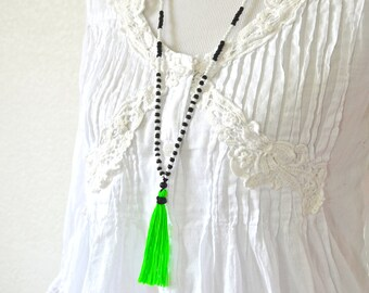 NEON GREEN Tassel Necklace - Neon Necklace - Extra Long Necklace - Boho Necklace