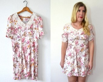 20 DOLLAR SUPER SALE! White Floral Dress - Peter Pan Collar Dress - 90s Dress Small
