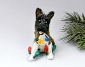 Akita Dog Christmas Ornament Figurine Lights Porcelain