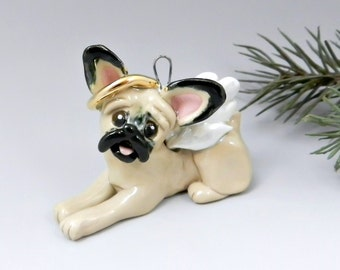 French Bulldog Angel Christmas Ornament Figurine Porcelain