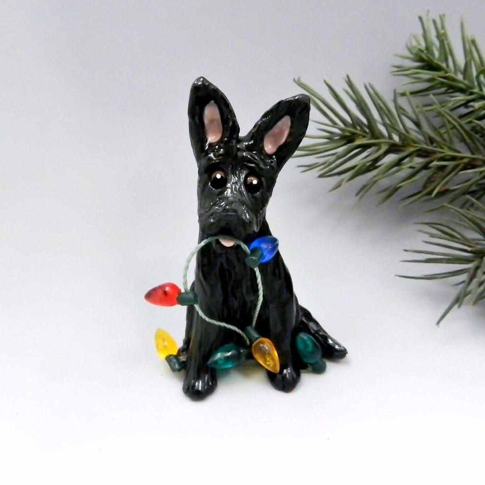 Shepherd Gold On Blue Silhouette Ornament: German Shepherd Dog Ornament Black Christmas By TheMagicSleigh