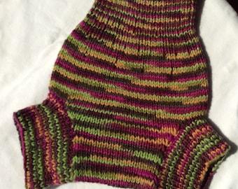 LARGE - ROSY GERANIUM  hand knit wool diaper soaker