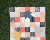 NEW YEAR SALE!! Patchwork Stars Quilt, Modern baby quilt, toddler quilt, lap quilt