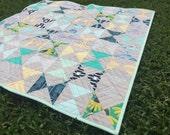 NEW YEAR SALE!! Modern Hourglass Quilt, Modern baby quilt, toddler quilt, lap quilt