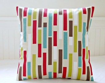 lime green, red, teal blue, brown abstract decorative pillow cover, retro cushion cover 16 / 18 inch