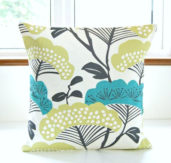 decorative pillow cover teal blue lime green navy 18 inch
