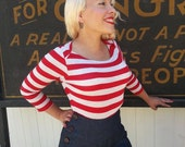 Sale Vintage style sailor boatneck 3/4 sleeve tee in Red and Heather Gray stripe