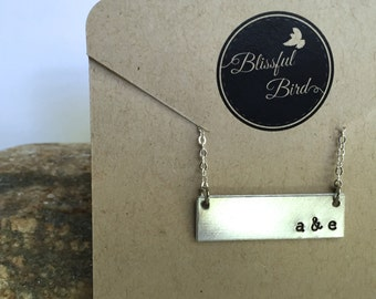 Personalized Couple Initial Stamped necklace, custom stamped necklace, love, couple, anniversary, wedding