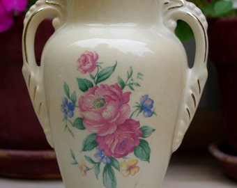 Royal Copley Vase Floral with Gold Trim