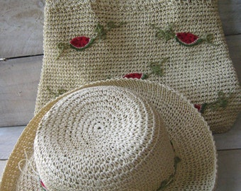 Vintage Capelli Straw Woven Hat and purse Set Beach Resort with Watermelon motif
