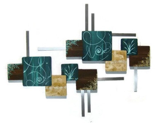 Beautiful Teal Contemporary wall sculpture-handmade Square Wall hangings-Dk.Teal & Brown Wood Art with Metal wall decor, home, office by DAS