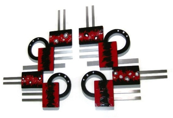 New 2pc Red Black Silver Abstract Geometric Unique Wood Metal Wall Sculpture Hanging 48x29