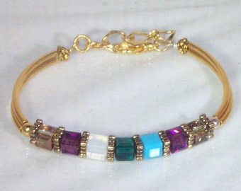 Swarovski Crystal Bracelet - 3 to 7 Birthstone / Family / Mother / Grandmother - Gold or Silver