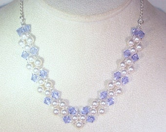 Swarovski Pearl and Crystal Bridal Jewelry - Necklace -  Made to Order - Available in Any Color - Bride, Bridesmaid, Maid of Honor