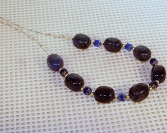 Gemstone and Cathedral Crystal Jewelry - Dumortierite and Cathedral Crystals Necklace