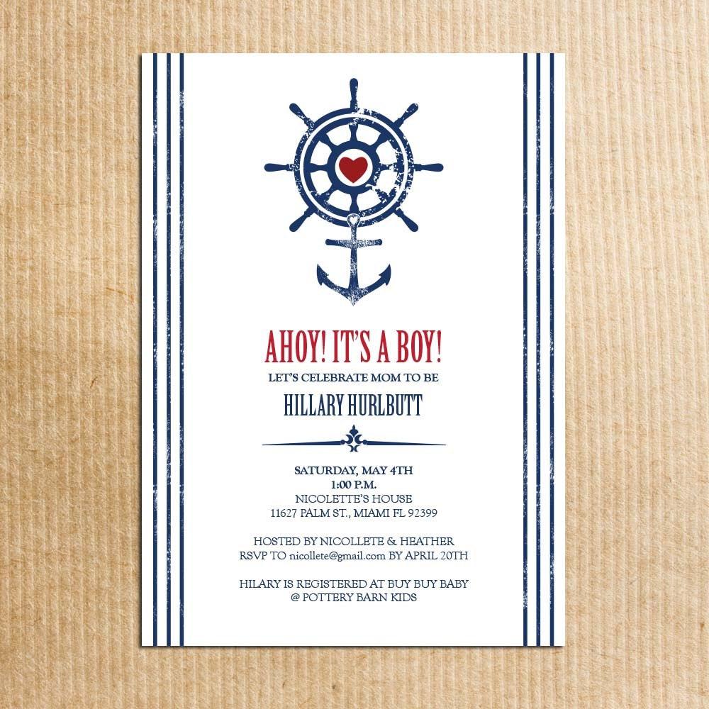 nautical beach theme baby shower invitations