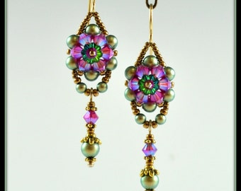 Beaded, Beadwork, Bead woven Crystal Flower Earrings