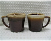 2 Vintage McCoy Coffee Cup Mugs USA Brown Drip Glaze Western Style D Handle