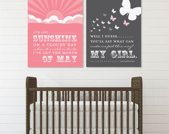 My Girl Lyrics by The Temptations Print Set // Archival Giclee Art Prints for Nursery / Child's Room// Custom Match colors// N-G55-2PS AA1
