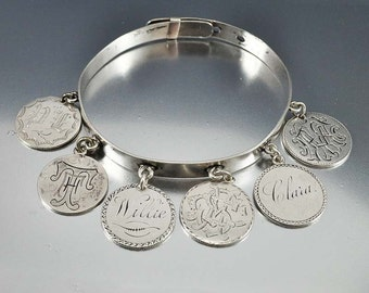 Victorian Love Token Bracelet, Sterling Silver Charm Bracelet, Seated Liberty Half Dime, Antique Jewelry, Coin Bracelet, Victorian Jewelry