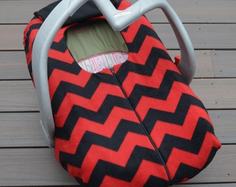 Chevron Baby Car Seat Cover in Red and Black - Geometric, Modern, Contemporary, Chic, Couture Baby Gift by Sophie Marie Designs