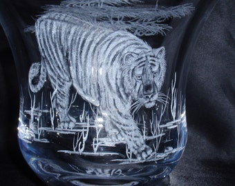 Tiger Glass Candle holder,  Glass Candy Dish, Hand Carved Glass, Etched Glass Candy Dish, Glass Wedding Gift, Glass Decore, Tiger Images