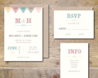 Vintage Wedding Invitations, Vintage Wedding Invite, Vintage Invitations, Wedding Invitation, Lace Wedding Invitation - Vintage Banner