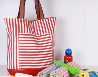 Beach, Large SUMMER TOTE... Shoulder Bag ,Everyday Purse,Canvas ,White ,Red , Cotton woven handles