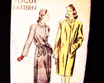 1940s Coat Pattern Vogue Misses size 14 Womens Coat with Tie Belt Vintage Sewing Pattern
