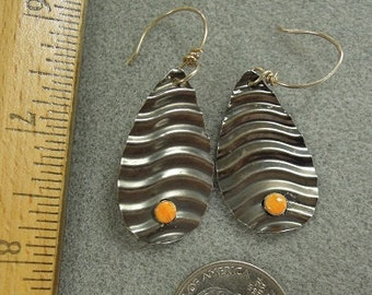 Textured Sterling with Spiny Oyster Cabochons earrings