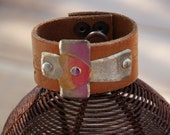 Etched Cross Leather Cuff