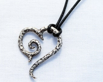 Silver Tribal Scroll Heart with aged hammered finish
