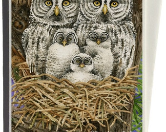 Great Gray Owls Greeting Card by Tracy Lizotte