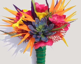 Colorful Tropical Bride Bouquet with Birds of Paradise, Calla Lilies, Orchids, Plumeria, and Succulents