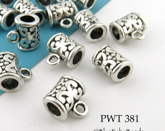10mm Pewter Slider Charm Bail with Scroll Design Antiqued Silver (PWT 381) 10 pcs BlueEchoBeads