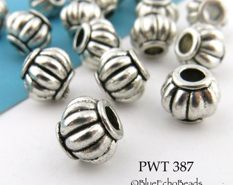 9mm Pewter Beads Antique Silver Melon (PWT 387) 10 pcs BlueEchoBeads