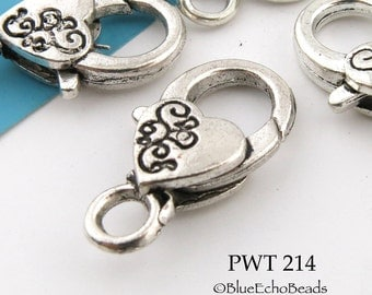 26mm Large Pewter Heart Lobster Clasp Antiqued Silver 26mm x 12 mm (PWT 214) blueecho 3 pieces